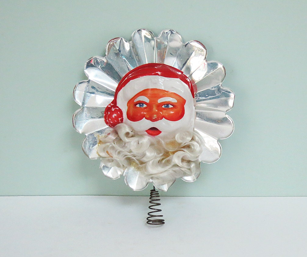 Christmas Tree Toppers Santa: 1950s Santa Claus Christmas Tree Topper With A White Angel