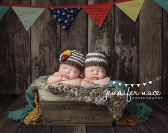 Newborn boy/girl twin brown fleck and cream striped beanie - individual or set