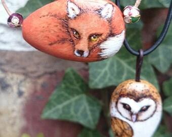 Woodland Animal Pyrography Pendants - fox, owl, fawn, hedgehog, rabbit or custom design!