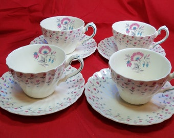 SALE - Last Chance - Set of 4 Vintage Myott England Olde Chelsea Miniature Pattern Tea Cups and Saucers
