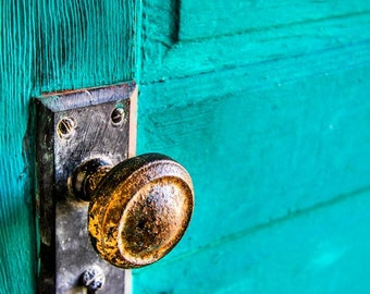 Vintage Blue Door & Brass Knob Fine Art Print - Door, Window, Building, Architecture, Vintage, Home Decor, Office Decor, Gift