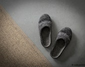 Felted slippers Women house shoes Wool clogs Dark grey slippers with black rubber sole Eco friendly home shoes Boiled wool Made to order