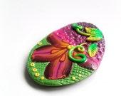 Polymer Clay Handmade Cabochon - Green Purple Magenta Yellow -  Millefiori Cane - irregular shape - 1 piece