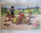 SALE !!!! Dressed Cats. Very old Dutch Postcard. This is what kittens like to do. Play.1940 era