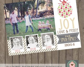 Christmas Card - Holiday Card - Up to 4 pictures - Joy - Peace - Love