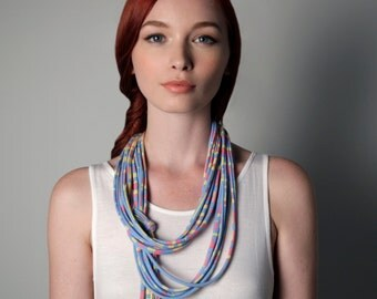Blue Necklace, Bohemian Necklace, Tribal Necklace, Summer Scarf, Festival Clothes, Festival Fashion, Festival Jewelry, Summer Necklace