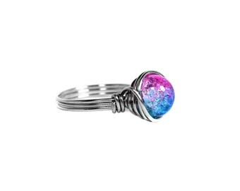 Pink and Blue Ring, Crackle Wire Wrapped Stainless Steel Two Tone Everyday Ring Galaxy Space, Ring Size 4, 5, 6, 7, 8, 9, 10, 11, 12, 13, 14