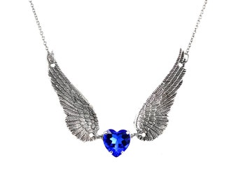 Angel Wing Necklace, Blue Heart Necklace, Silver Wing Necklace, Swarovski Crystal Necklace, Angel Wing Jewelry, Sapphire Necklace