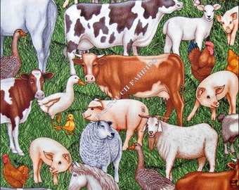 """Country RJR Farm Animals Cows Pigs Horses Sheep Chickens Cotton Fabric 1/2 Yard 18"""" x 44"""""""