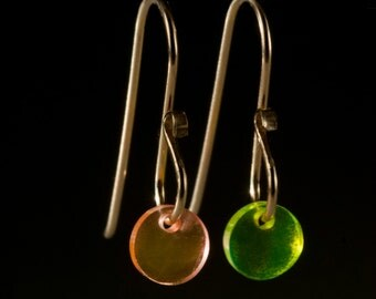 Petite Dangle Earrings, Neon Green and Orange Acrylic Modernist Drop Earrings by 2Roses pack Big Style