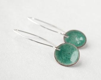 Sterling Silver Enamel Drop Earrings - Contemporary Earrings - Minimal Earrings - Enamel Jewelry - Teal Enamel Earrings - Gift for Women