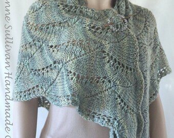 Lace Triangle Shawl, Multi Green Knitted Shawl, Womans Knitted Green Lace Shawl, Knit Triangle Shawl