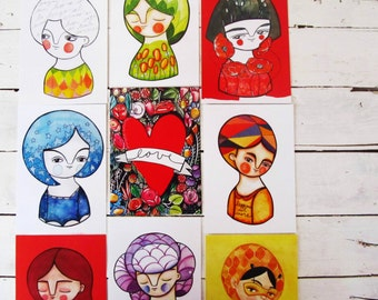 Collection #2, illustrated postcards lot, mix & match set of 9