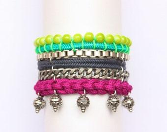 TOLU colorful multi-strand statement bracelet