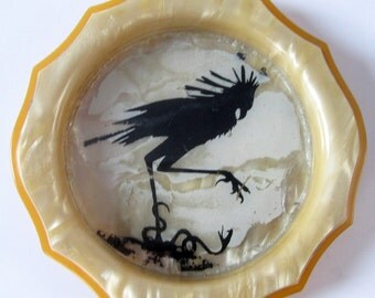 Bakelite Pin Ash Tray Trinket Dish Arch Amerith Rare Celluloid Collectible Home Bar Coaster Deco 1920s Serpent