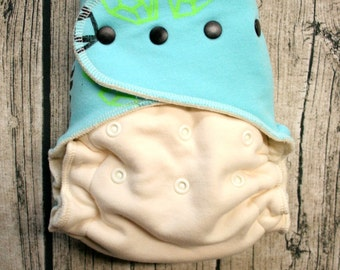 cloth diaper - fitted organic cloth diaper - one size fits most - teal orange dark pink - Candy Coated silk screen