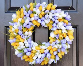 Spring Wreath- Door Wreath- Easter Wreath- Tulip Wreath- The Original Tulip Wreath, Custom Sizes and Colors