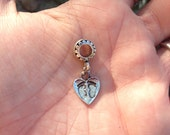 Footprints on Heart Charm, Pendant, (Baby, necklace, mother)