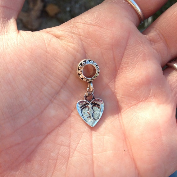 Miscarriage Memories Footprints on Heart Charm, Pendant, Babyloss