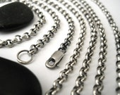 chunky sterling silver chain, finished 3.9 mm rolo chain, , unisex chain, made to order