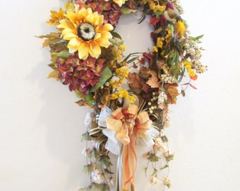 Long Oval Fall Autumn Wreath for door or wall Home Decor with Victorian long beaded fringe and Decorator Trim beaded bow - ready to ship