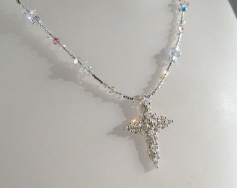 Cubic Zirconia and Sterling Silver Cross Necklace