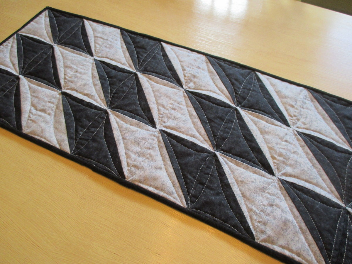 Modern table runner black and gray quilted runner modern for Modern table runner