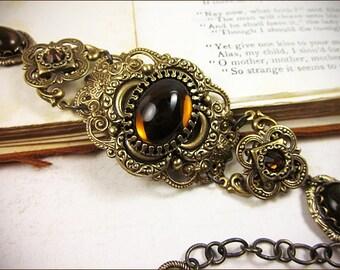 Medieval Bracelet, Smoked Topaz Glass, Renaissance Jewelry, Bridal Jewelry, Tudor Jewelry, Ren Faire, SCA, Wedding, Canter