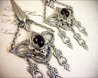 Renaissance, Red Chandelier Earrings, Garnet, Medieval Wedding, Handfasting, Pagan Ceremony, Bridesmaid, Spike Earrings, Bridal, Ren Faire