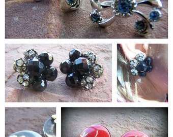 Vintage Earring Jewelry lot of 3 Non-pierced Clips and Screw Back Crystal Enamel Cluster Earrings