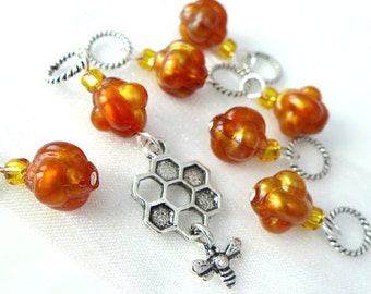 LAST SETS - A Moment of Honey - Seven Handmade Stitch Markers - 5.0mm (8 US) - Limited Edition