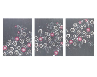 Modern Teen Painting - Pink and Gray Textured Flower Art on Canvas Triptych - Large 50x20 - MADE TO ORDER