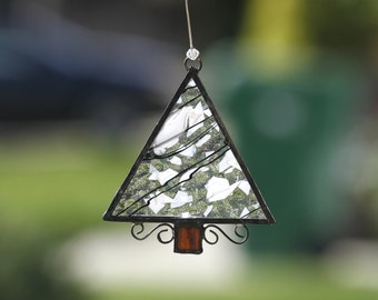 LITTLE SNOWY TREE-Stained Glass Suncatcher, Sun Catcher, Christmas Ornament, Stain Glass, Gift, Snow, Tree, Gift Boxed, Ready to Ship