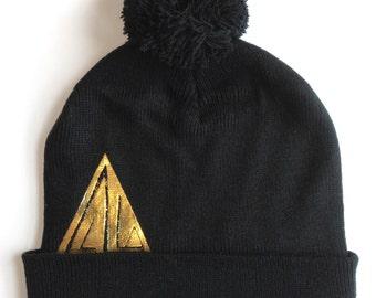 Black Pom Pom Hat, knit Hat, Black PomPom Hat Gold Foil hat, fun winter weather hat, Ski Hat beanie, Pompom  Hat Warm Hat Knit Hat, Snow Hat