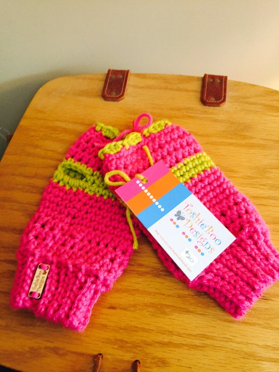 Hot Pink Fingerless Mittens with Lime Trim