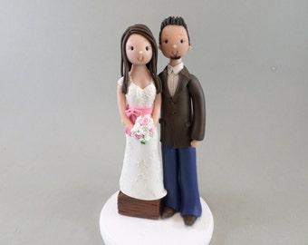 Short Bride & Tall Groom Custom Made Wedding Cake Topper