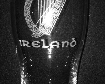 Irish Harp Pint Glass
