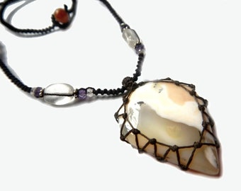 MILKY AGATE macrame Necklace - Your Stone for Protection
