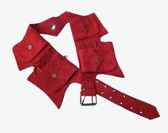 Leather Utility Belt | Red Suede, 5 pockets | travel, burning man, festival