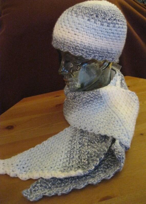 Hat Scarf Set Denim Blue White Crochet