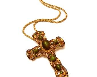 Juliana Cross Necklace, Rhinestone Cross Pendant Necklace, DeLizza & Elster Juliana Rhinestone Jewelry, Mod Costume Jewelry, Juliana Brooch