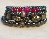 Pyrite hematite bracelets, gemstone bracelets, elastic stack bracelets, skulls, metallic grey, stretch stone bracelets, sterling silver