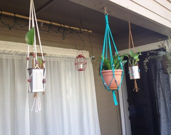 Macrame' Plant Hangers Set of 3 Indoor/Outdoor Patio Decor ~ Native Aztec