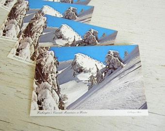 Vintage Pacific Northwest Postcard | Washington Winter Cascades | Snowy Mountains | 1970s | Wedding Invitation