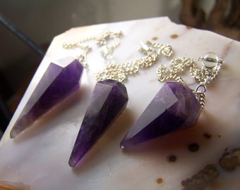 Amethyst pendulum - point on chain - silver - beveled natural amethyst crystal gemstone - 1 to 2 inches long amethyst point coyoterainbow