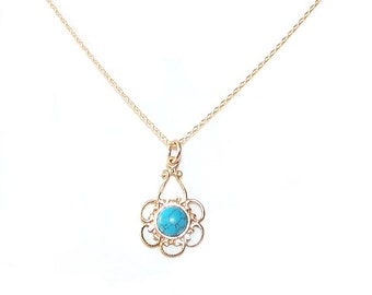 Minimalist Gold Chain Necklace - Turquoise, Gold Filled - Turquoise, Gold - The Basics: Minimalist Filigree Flower