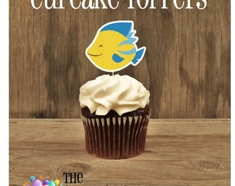 Ariel & Friends Party - Set of 12 Flounder Fish Cupcake Toppers by The Birthday House