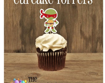 TMNT Friends- Set of 12 Red Ninja Turtle Cupcake Toppers by The Birthday House