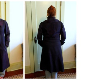 1930s Long Coat High Collar Intricate Details Vintage Coat Size 8 to 10