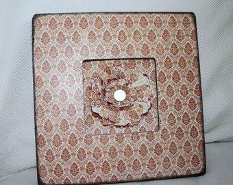 CLEARANCE - Vintage Chic Art Frame - Damask Rose - Paper Flower Art - Shabby Chic French Red Cream Home Decor Room Photo Display